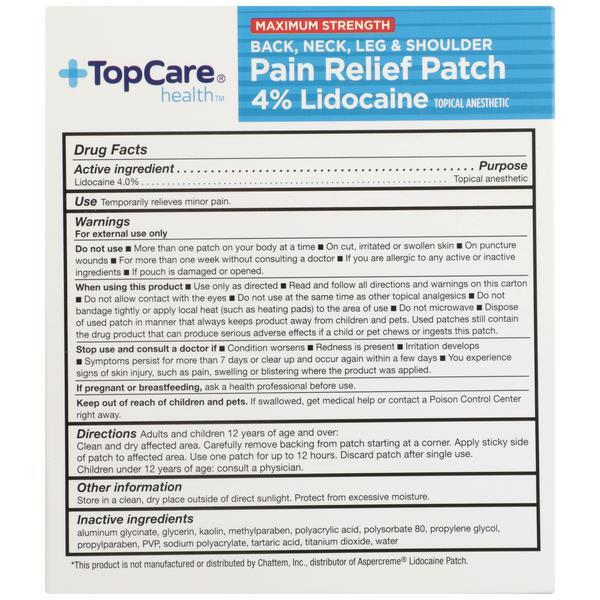 TopCare Health Pain Relief Patch Maximum Strength 4% Lidocaine